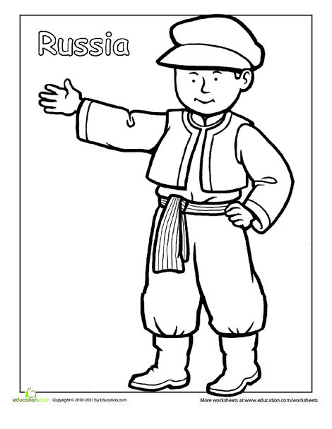First Grade Coloring Worksheets: Russian Traditional Clothing Coloring Page