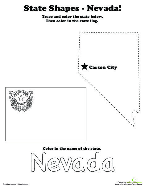 First Grade Social studies Worksheets: Trace the Outline of Nevada