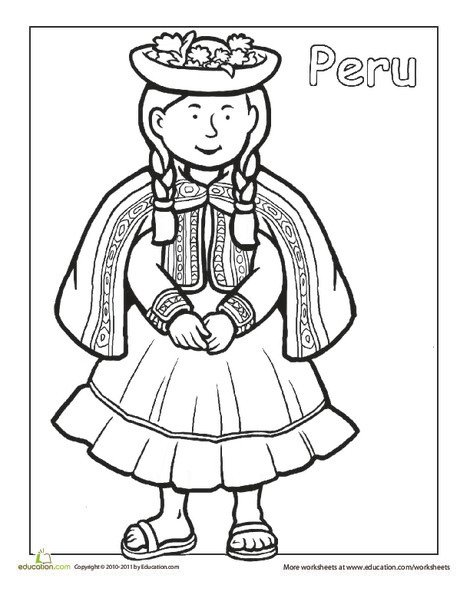 First Grade Coloring Worksheets: Multicultural Coloring: Peru