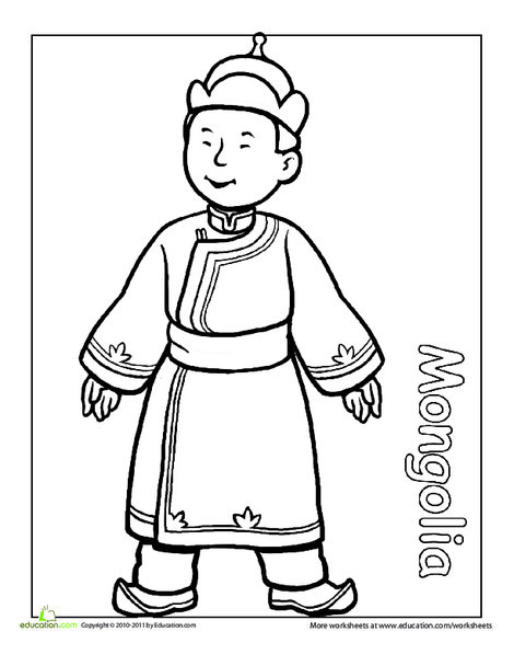 First Grade Coloring Worksheets: Multicultural Coloring: Mongolia