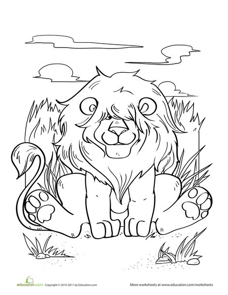 Kindergarten Coloring Worksheets: Silly Lion Coloring Page