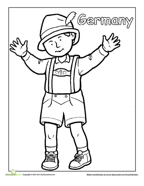 First Grade Coloring Worksheets: German Traditional Clothing Coloring Page
