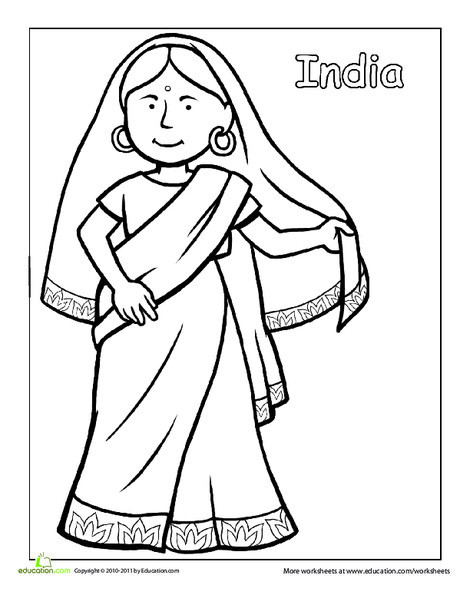 First Grade Coloring Worksheets: Indian Traditional Clothing Coloring Page