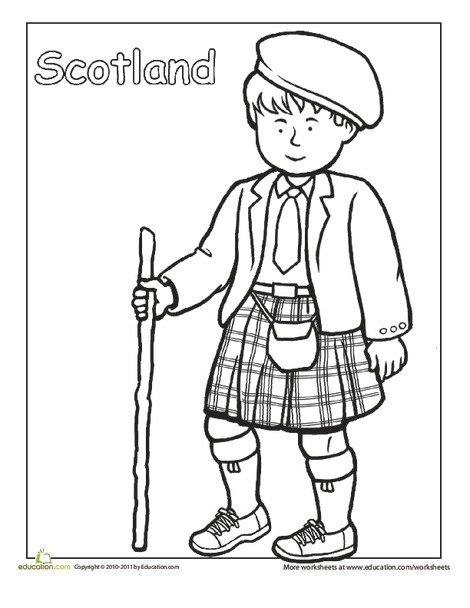 Second Grade Coloring Worksheets: Scottish Traditional Clothing Coloring Page