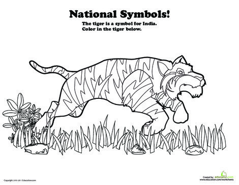 Preschool Coloring Worksheets: India National Animal