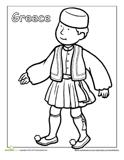 First Grade Coloring Worksheets: Greek Traditional Clothing Coloring Page