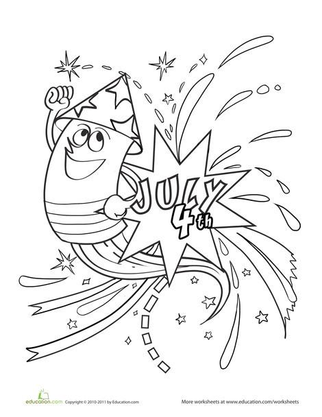 Kindergarten Holidays Worksheets: Fireworks Coloring Page