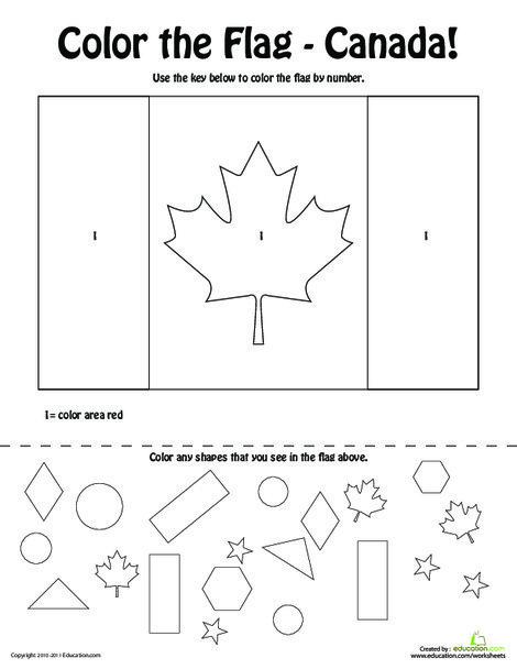 Preschool Social studies Worksheets: Canadian Flag Coloring Page