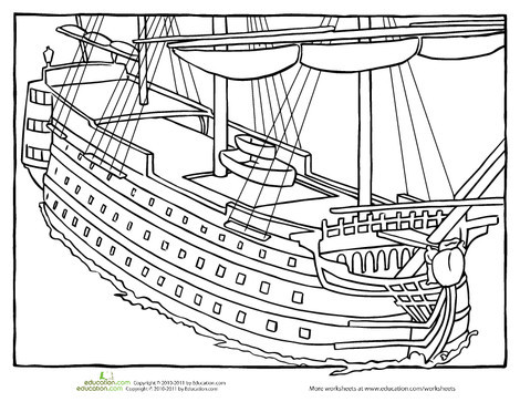 First Grade Coloring Worksheets: HMS Victory Coloring Page