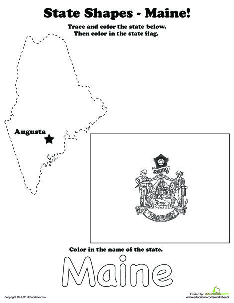 First Grade Coloring Worksheets: Trace the Outline of Maine