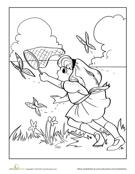 Kindergarten Seasons Worksheets: Color the Butterfly Catcher