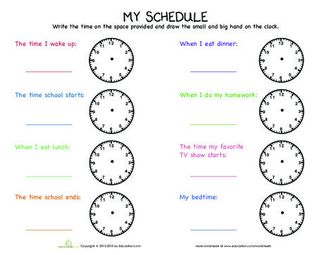 Second Grade Math Worksheets: Telling Time: My Day