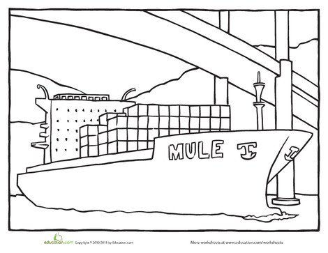 Second Grade Coloring Worksheets: Color the Cargo Ship