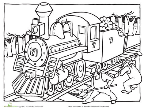 Kindergarten Coloring Worksheets: Train Coloring Page: Steam Engine