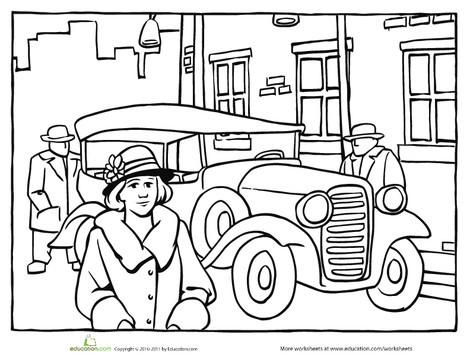 First Grade Coloring Worksheets: Color the Roaring Twenties Car