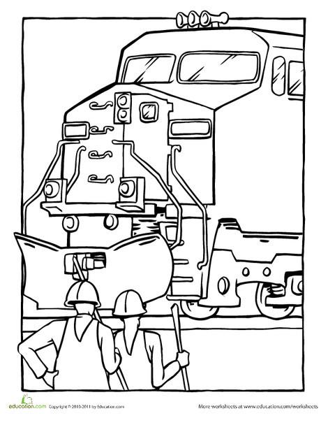 Kindergarten Coloring Worksheets: Color a Diesel Train Back to Service