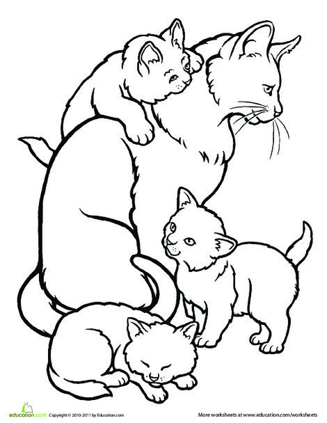 Preschool Coloring Worksheets: Color the Mommy Cat and Kittens