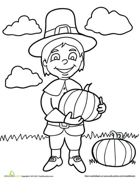 Preschool Holidays Worksheets: Pilgrim Boy Coloring Page