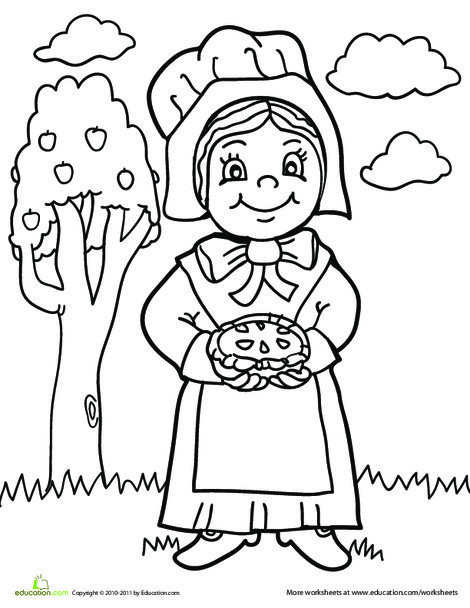 Preschool Holidays Worksheets: Pilgrim Girl Coloring Page
