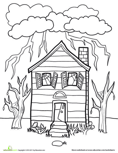 First Grade Holidays Worksheets: Color a Spooky House