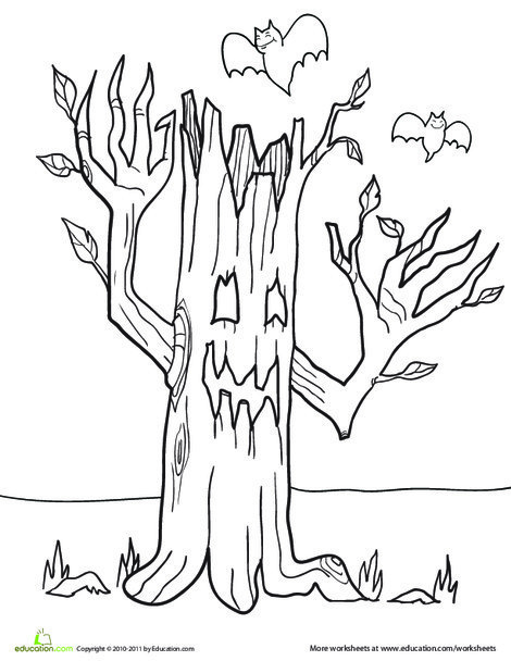 First Grade Holidays Worksheets: Color the Haunted Tree