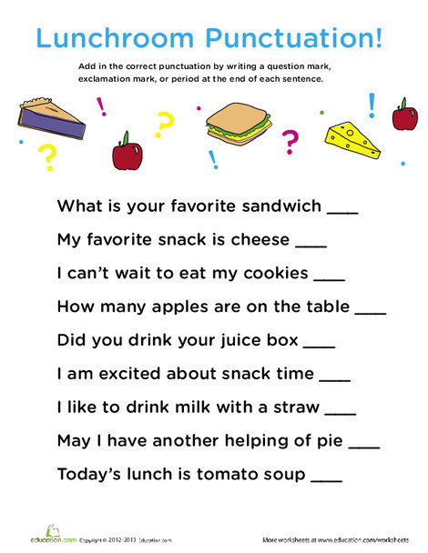 First Grade Reading & Writing Worksheets: Punctuation: In the Lunch Room