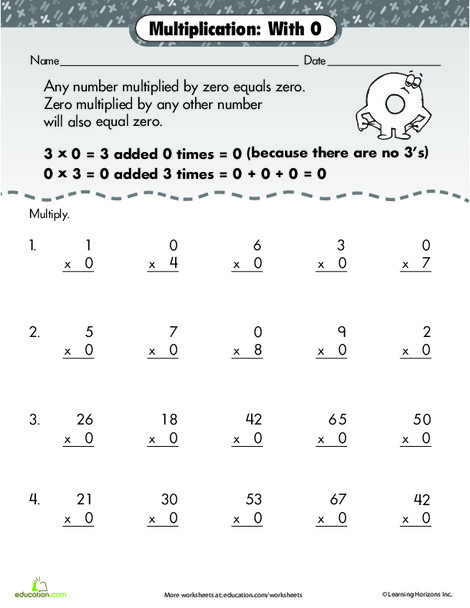 Second Grade Math Worksheets: Multiply by 0