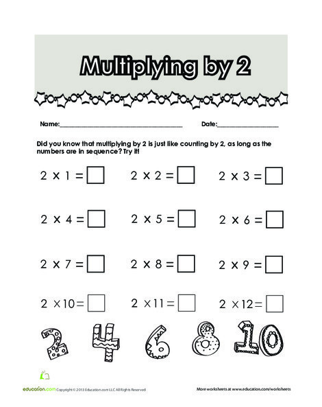 Second Grade Math Worksheets: Multiplying by 2