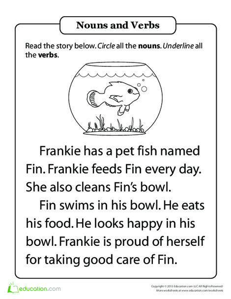 First Grade Reading & Writing Worksheets: Parts of Speech Practice: Hal and the Fish