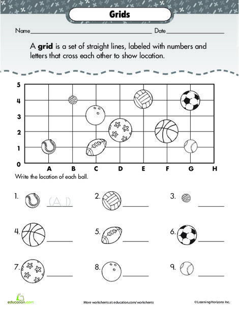 Second Grade Math Worksheets: Coordinate Grid: Basic Practice with Sports!