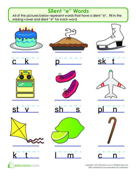 """First Grade Reading & Writing Worksheets: Silent """"e"""" Word Play"""