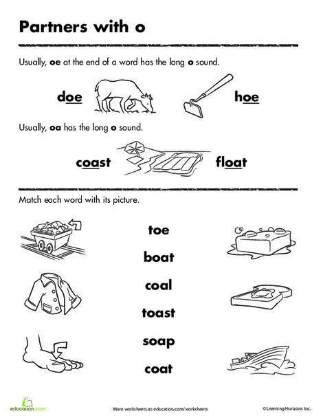 First Grade Reading & Writing Worksheets: Long o Words