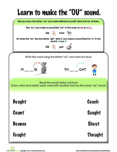 First Grade Reading & Writing Worksheets: Ou Sound