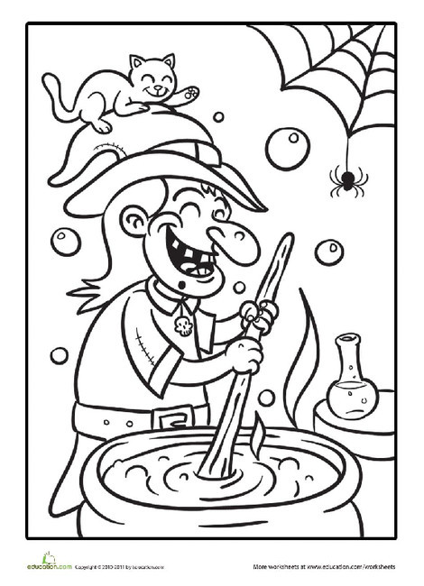 First Grade Holidays Worksheets: Witch's Potion Coloring Page