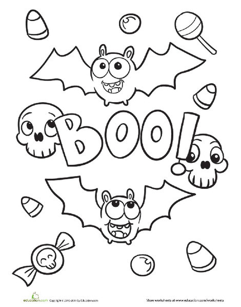 First Grade Holidays Worksheets: Halloween Bat Coloring Page