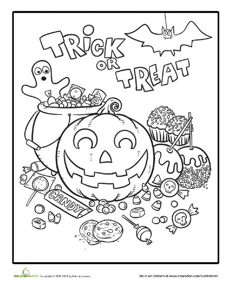 First Grade Holidays Worksheets: Halloween Candy Coloring Page