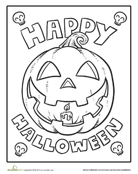 First Grade Holidays Worksheets: Color the Happy Halloween