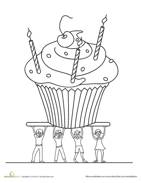 Preschool Holidays Worksheets: Birthday Cupcake Coloring Page