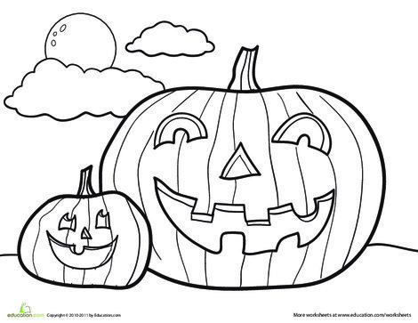 Kindergarten Holidays Worksheets: Jack-o'-Lantern Coloring Page