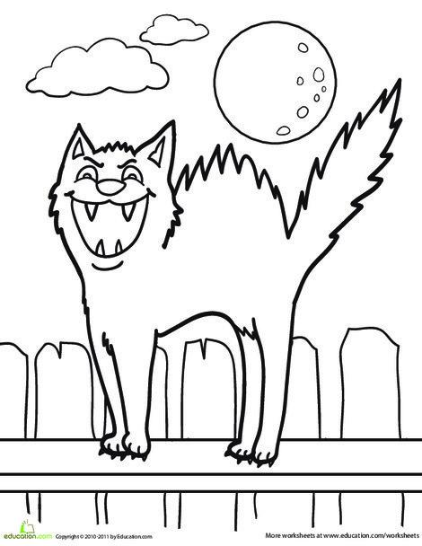 Kindergarten Holidays Worksheets: Color the Hissing Cat
