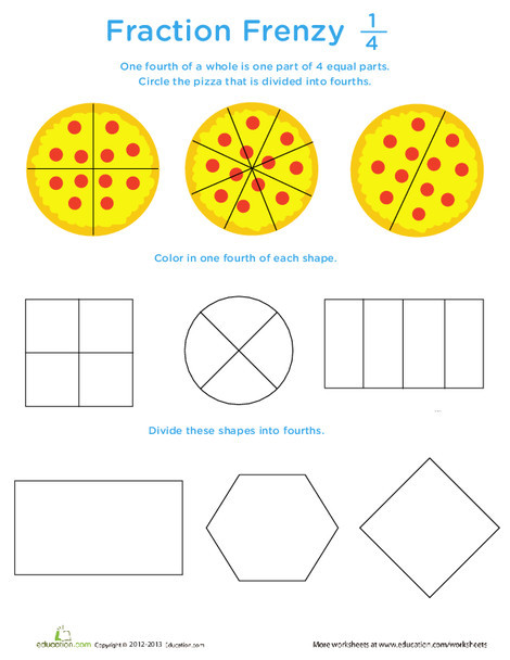 First Grade Math Worksheets: Fraction Frenzy: 1/4