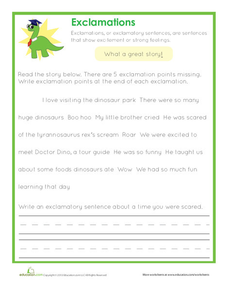 Second Grade Reading & Writing Worksheets: End Punctuation: Exclamations