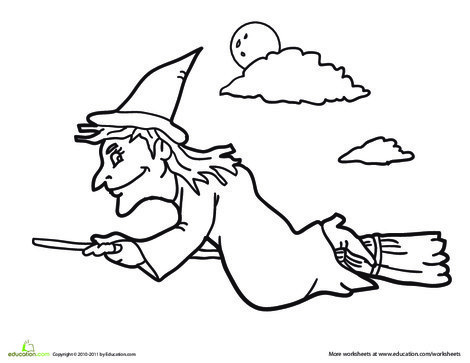 Kindergarten Holidays Worksheets: Wicked Witch Coloring Page
