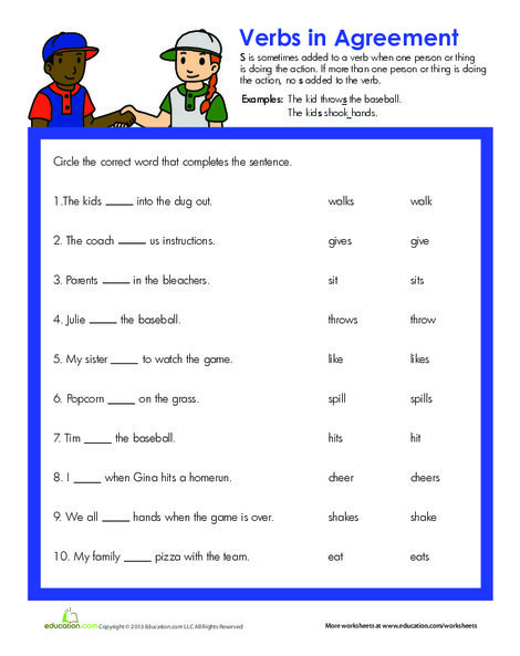 Second Grade Reading & Writing Worksheets: Verb Practice