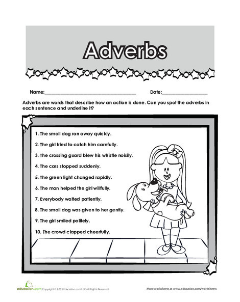 Second Grade Reading & Writing Worksheets: Find the Adverb