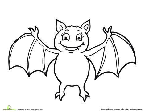 Preschool Holidays Worksheets: Vampire Bat Coloring Page