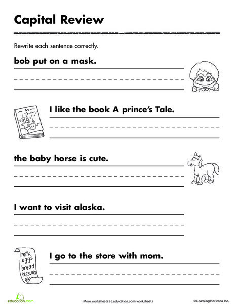 First Grade Reading & Writing Worksheets: Practicing Capitals