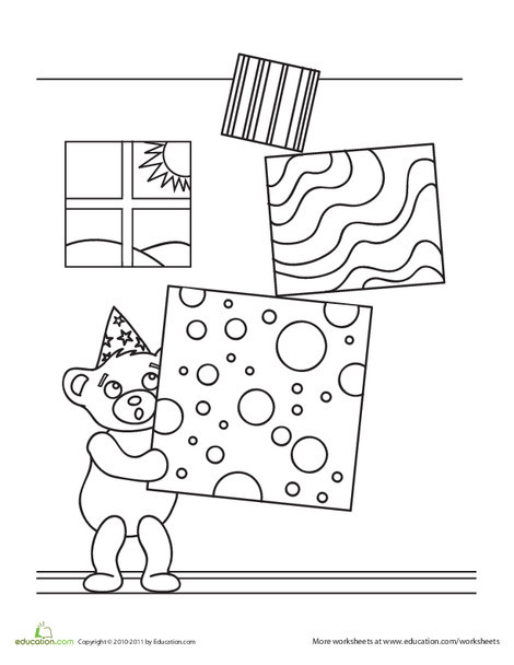 Kindergarten Holidays Worksheets: Birthday Teddy Bear Coloring Page