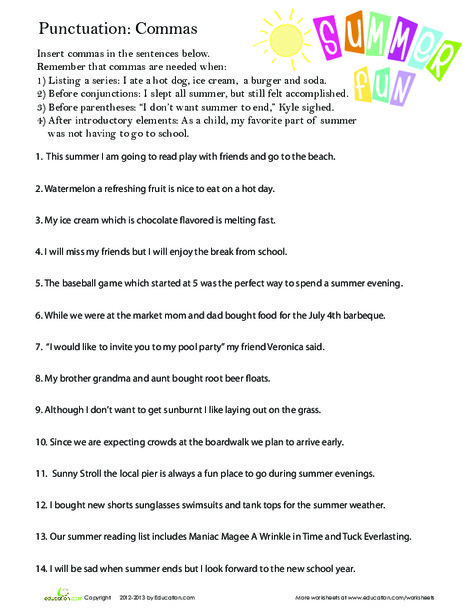 Third Grade Reading & Writing Worksheets: Perfect Punctuation: Commas in a Series