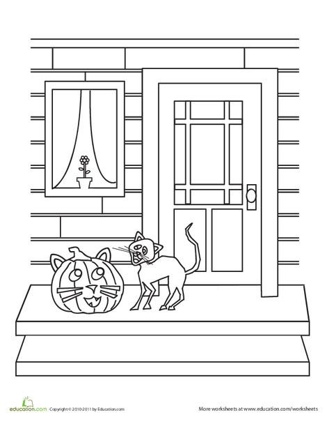 Kindergarten Holidays Worksheets: Color the Halloween Cat